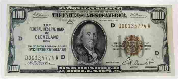 1929 $100 NATIONAL CURRENCY CLEVELAND OHIO