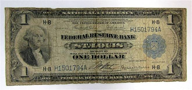 1918 $1 NATIONAL CURRENCY ST. LOUIS