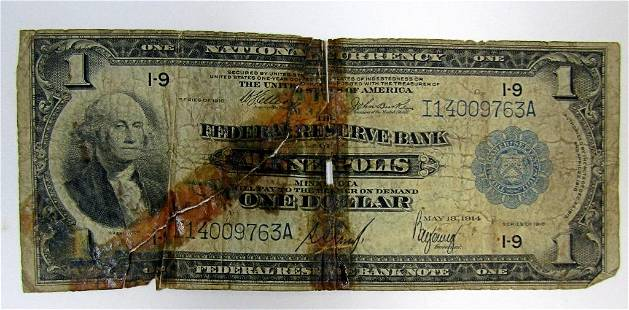 1918 $1 NATIONAL CURRENCY MINNEAPOLIS MN