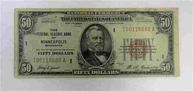 1929 $50 NATIONAL CURRENCY MINNEAPOLIS MN