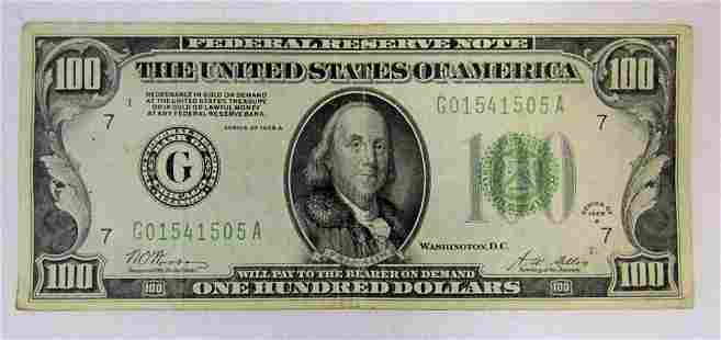 1929 $100 GOLD CERT FEDERAL RESERVE NOTE