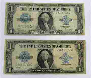 (2) 1923 $1 SILVER CERTIFICATES LARGE SIZE NOTE