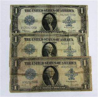 (3) 1923 $1 SILVER CERTS LARGE SIZE NOTES