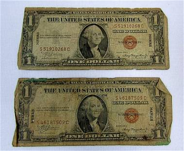 "(2) 1935 $1 ""HAWAII"" SILVER CERTIFICATES"