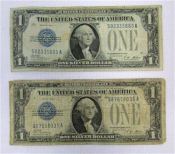 """(2) 1928 $1 """"FUNNY BACK"""" SILVER CERTS"""