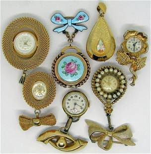 7 VINTAGE BROOCH/PIN WATCHES!!
