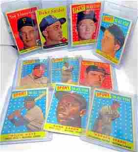 (10) 1958 TOPPS BASEBALL STAR CARDS