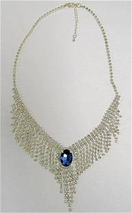 (2) CLEAR BLUE STONE NECKLACES / HIGH FASHION