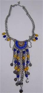 BLUE/YELLOW FASHION NECKLACE - CHUNKY