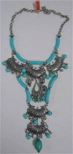 LARGE TEAL / SILVER CHUNKY NECKLACE
