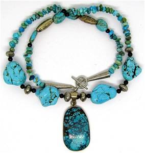 CHUNKY NAVAJO STERLING TURQUOISE BEADED
