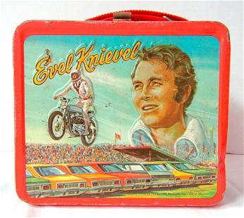EVEL KNIEVEL VINTAGE METAL LUCHBOX - ALADDIN 1974;