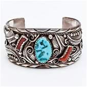 Navajo Milton Tsosie Sterling Turquoise Cuff