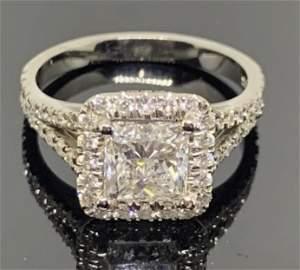 3.00 CTW Diamond Princess Halo Engagement Ring