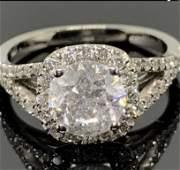 3.00 CTW Diamond Halo Round  Engagement Ring