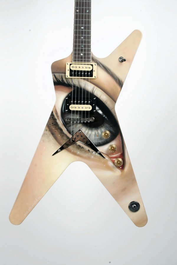 9: Sas Christian, Painted Electric Guitar, Oil
