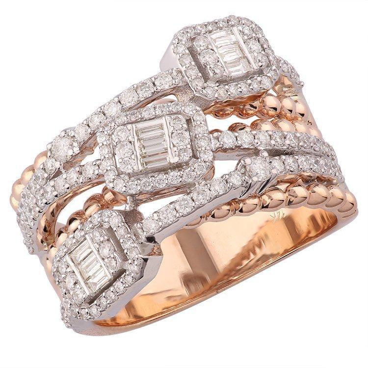 14K Rose Gold Baguette & Diamond Ring