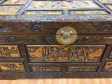Chinese Antique Camphore Oriental , hand carved trunk