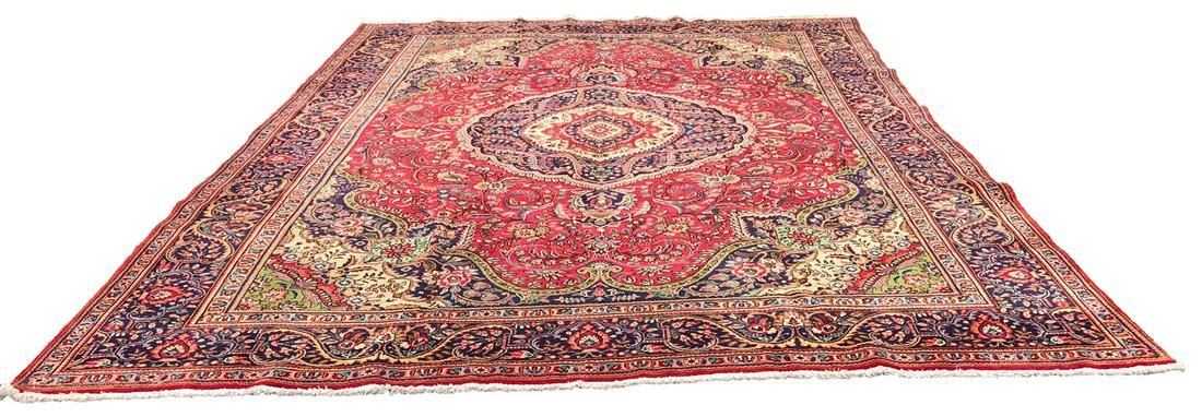 Persian tabriz 1421 style rug wool pile vintage hand