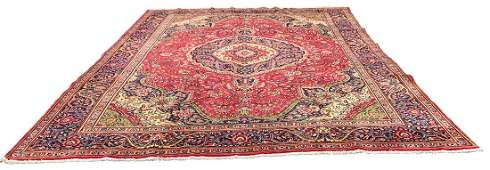 Persian tabriz 1421 rug wool pile vintage hand knotted