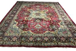 Persian kashan 1308 Floral style rug wool pile vintage