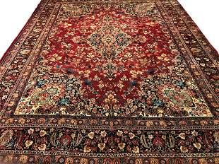 Persian saruq 1416  style rug wool pile vintage hand