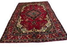 Persian tabriz 3918 style rug wool pile vintage hand