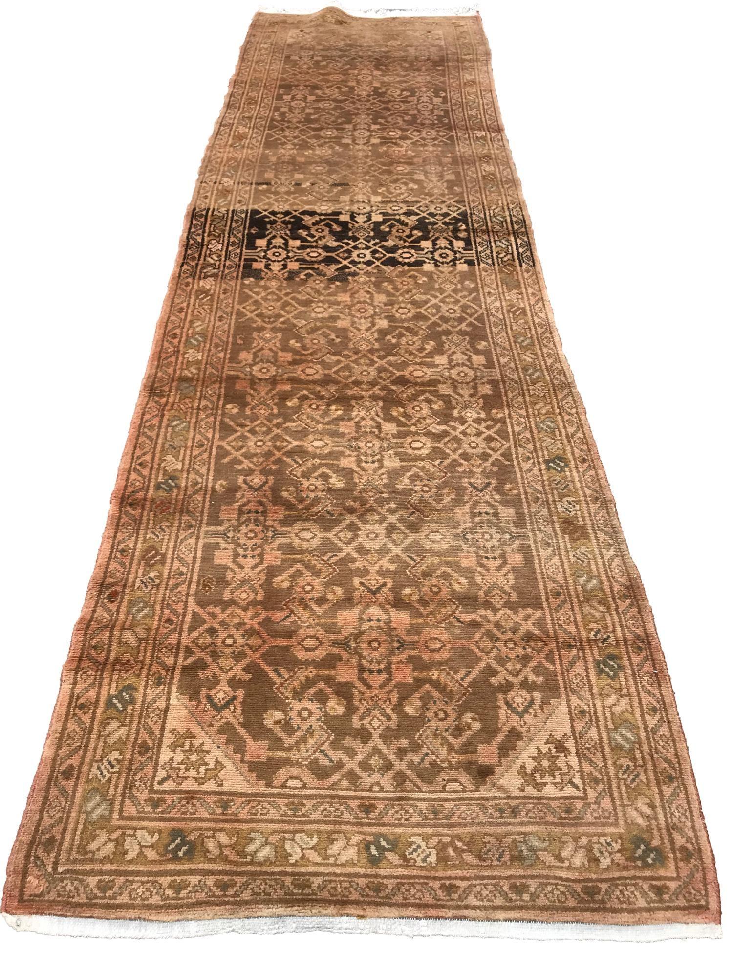 Persian tabriz 137 style rug wool pile vintage hand