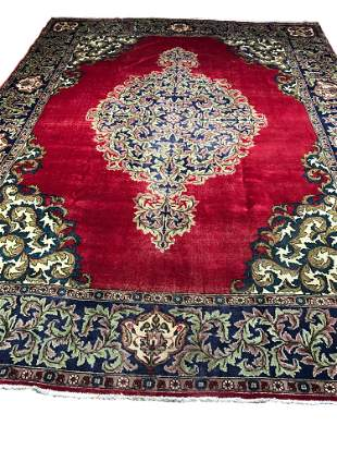 Persian Tabriz kh97  style rug wool pile vintage hand
