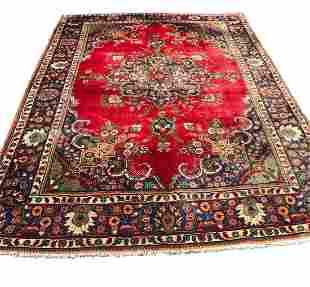 Persian Tabriz 3813  style rug wool pile vintage hand