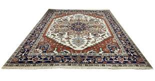 Persian serapi d144 style rug wool pile vintage hand