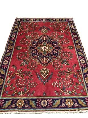 Persian tabriz 152 style rug wool pile vintage hand