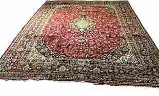 Persian kashan 1303 style rug wool pile vintage hand