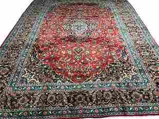 Persian kashan 1291 style rug wool pile vintage hand