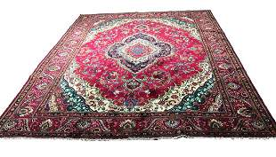 Persian tabriz 3003 Floral style rug wool pile vintage