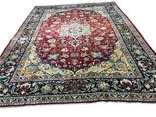 Persian isfahan 1314 style rug wool pile vintage hand