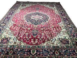 Persian tabriz 1039 style rug wool pile vintage hand