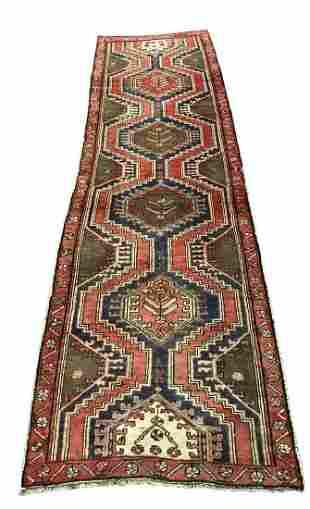 Persian kazak 1230 style rug wool pile vintage hand