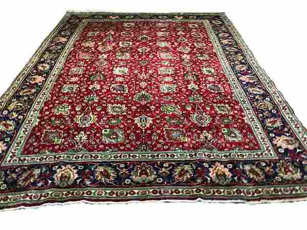 Persian tabriz oh224 style rug wool pile vintage hand