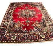 tabriz 3813 rug wool pile vintage hand knotted