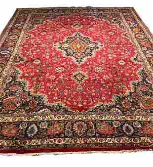 mashad 1430 style rug wool pile vintage hand knotted