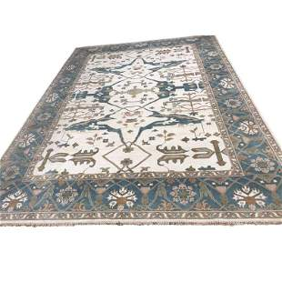 Persian oushak d101 style rug wool pile vintage hand