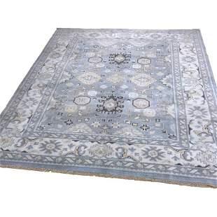 Persian oushak 35 style rug wool pile vintage hand