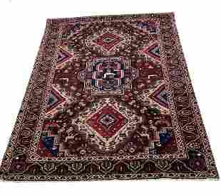 Persian kashkuli 202/457 style rug wool pile vintage