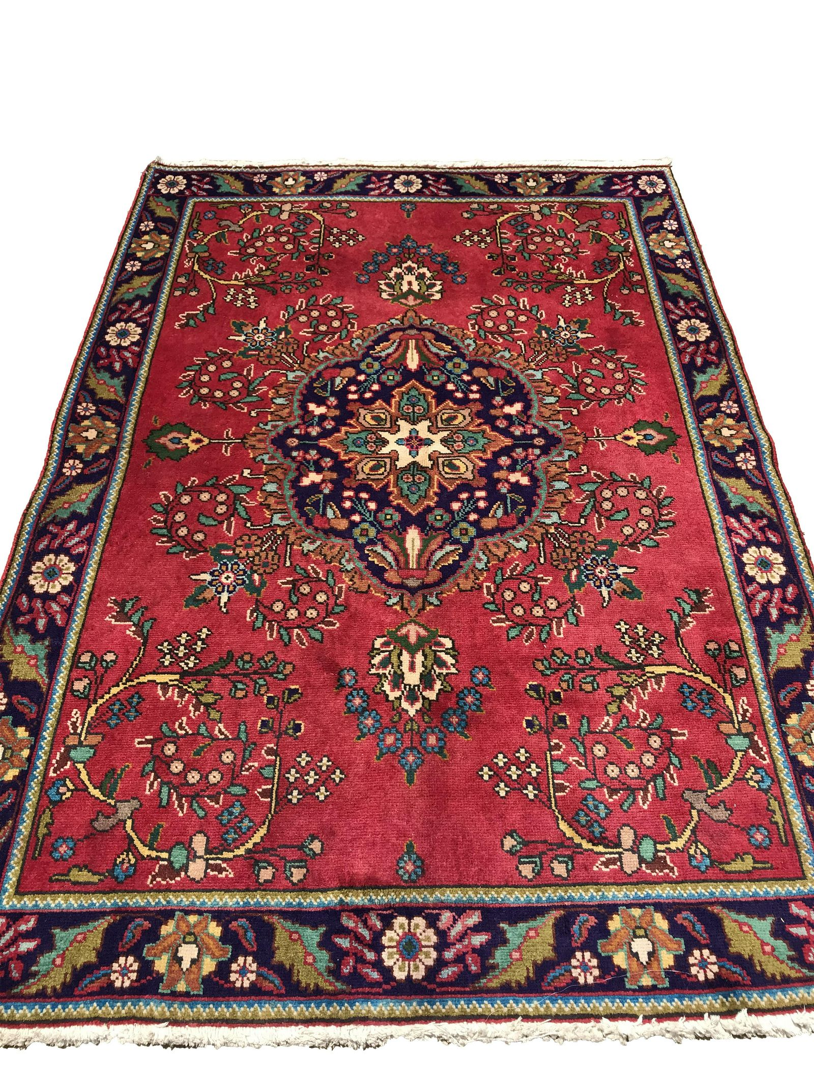 tabriz 152 style rug wool pile vintage hand knotted