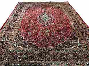 Persian kashan 2529 style rug wool pile vintage hand