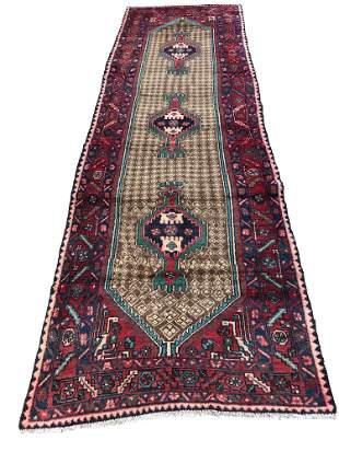 Persian hamadan 136 style rug wool pile vintage hand