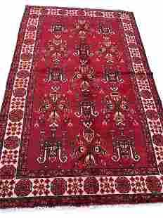 Persian kashkuli 150 rug wool pile vintage hand knotted