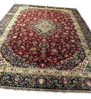 Persian mashad 1313 style rug wool pile vintage hand