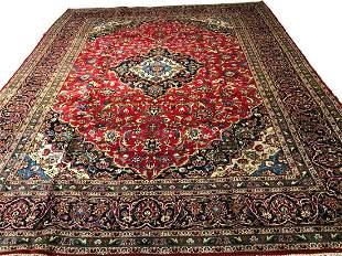 Persian mashad 509 style rug wool pile vintage hand